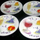 Rosanna Plates Wine and Cheese Champagne Stoneware Dessert Lunch Salad Set 4 New