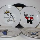 Rosanna Plates Cheers Waiters Wine Martini Beer Salute Votre Sante Stoneware New