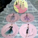 Rosanna Plates Pink French Fashion Haute Couture Retro Gowns Dessert Stoneware