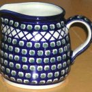 Boleslawiec Pitcher Polish Pottery Olives Cross Hatch Squat Shape Rich Blue New