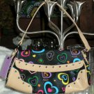 XOXO Tote Flap Top Handbag Adoration Jelly Black Multi Hearts Purse Chrome New