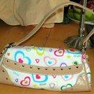 XOXO Tote Flap Top Jelly Hand Bag Adoration White Multi Hearts Purse Chrome New