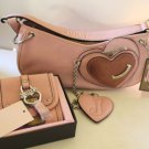 Juicy Couture Pink Wallet Handbag Set Leather Chain Heart Authentic Designer NEW