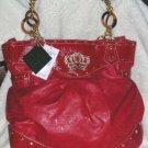 Baby Phat Hand Bag Red Signature Purse Rhinestone Crown New Designer