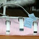 Cynthia Rowley Handbag Tote Frame Bag White Leather & Pink Fabric New Designer