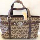 Michael Kors Tote Shield Handbag Brown Leather Monogram MK Jacquard New Designer