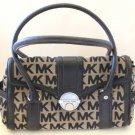 Michael Kors Satchel Westbury Handbag Black Leather Beige MK Monogram Tote New