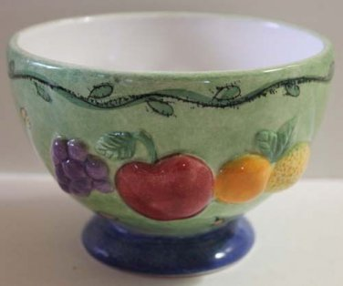 Sue Zipkin Bowl Green Footed Sangria Fruit Soup Dessert Cereal Stoneware New