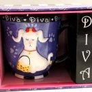 Revelations Purple Diva Mug Lady French Fashion Poodle Embossed Paws Stoneware