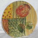 Ita Lica Ars Plate Rose Foral Geometric Dessert Salad Hand Painted Stoneware New