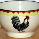 French Country Bowl Footed Hand Painted Rooster Ice Cream Cereal Stoneware New