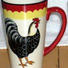 Hand painted French Country Mug Latte Rooster Stoneware Pictorial Black Red New