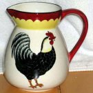 Country French Pitcher Rooster Pictorial Hand Painted Black Stoneware New