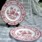 Queens Plates Red Indian Tree Toile Transferware Dessert Salad Set 2 England New