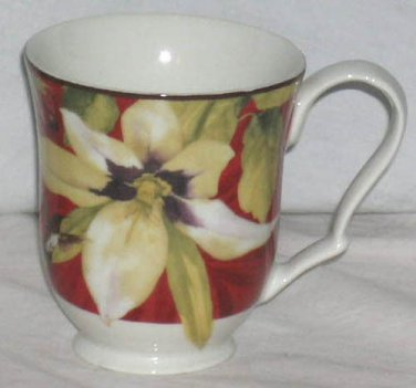 222 Fifth Mug Belize Hummingbird Floral French Country Coffee Tea Porcelain New
