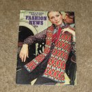 "Retro/Vintage Patterns Coats & Clark's Book No. 206 ""Fashion News""-1970 Womens Clothing"