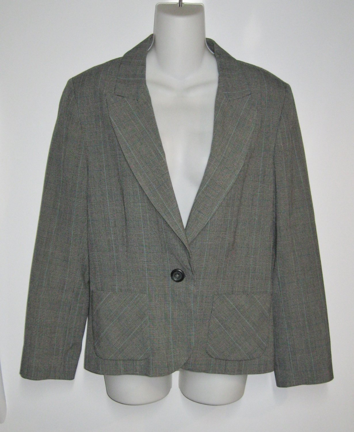 NWT-GEORGE-One Button Blazer W/Lapels Small Gray Plaid-Sz. 10 Lined Interior