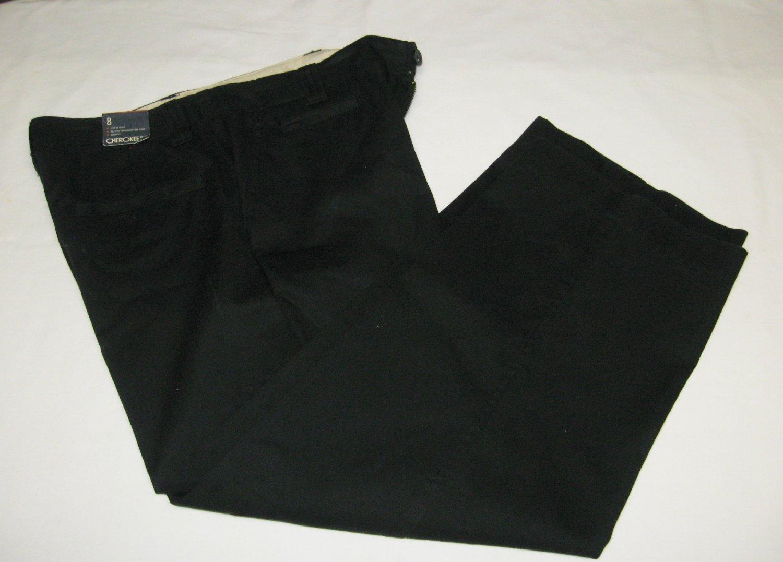 NWT-Cherokee Cropped Pants-Black-Wide Leg-Size 8-100% Cotton
