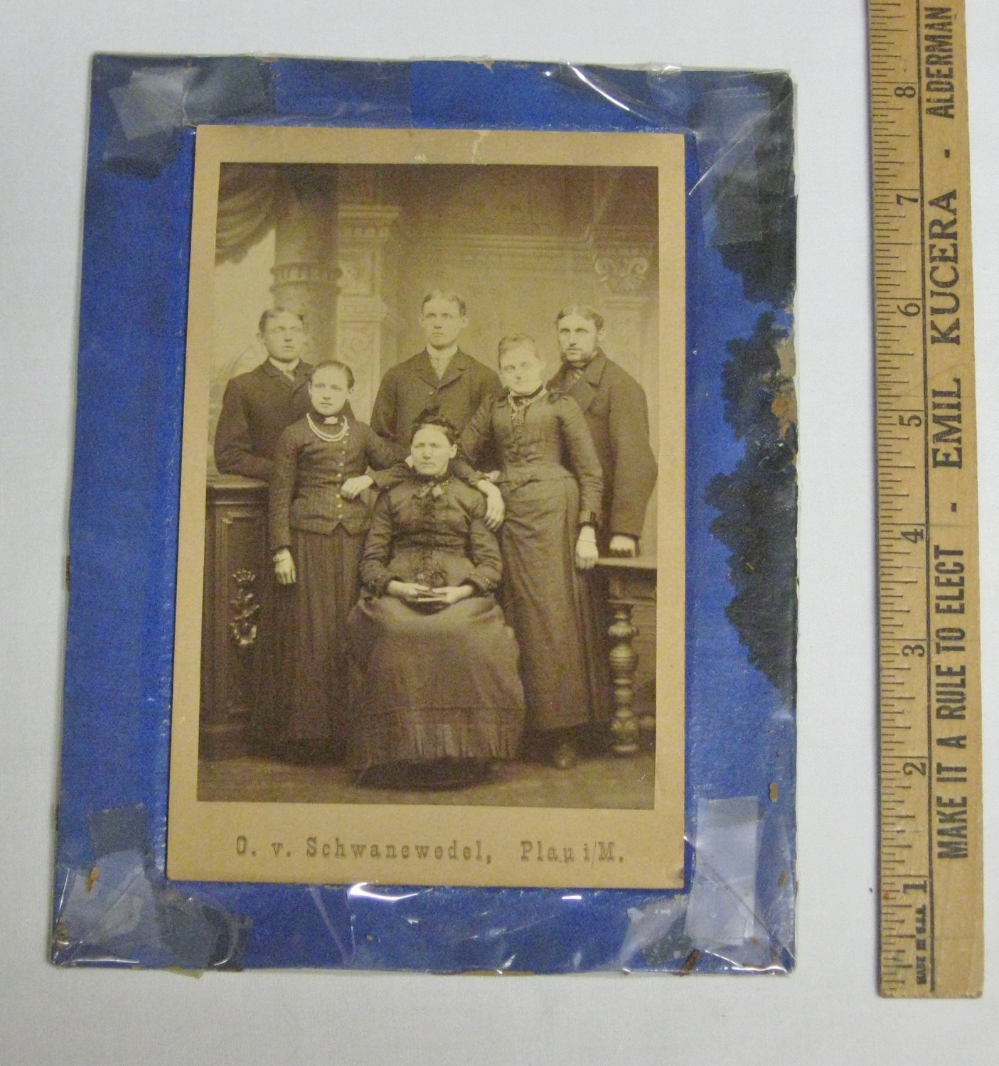 Antique-Late 1880's Family Cabinet Photo-Taken in Germany-Mom & Grown Children