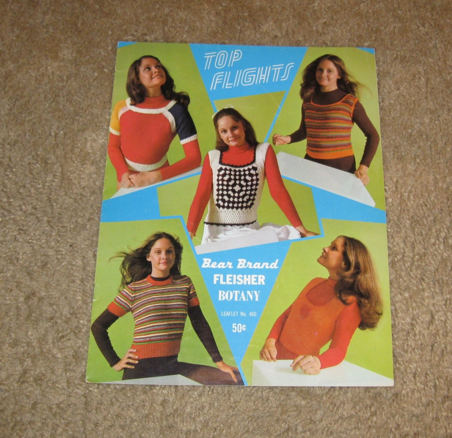 Vintage Patterns-1971 Top Flights Leaflet No. 460 Knit & Crochet-Bear Brands