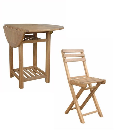 Seacrest Counter Dining Table Set with 4 Folding Chairs Solid Teak Wood