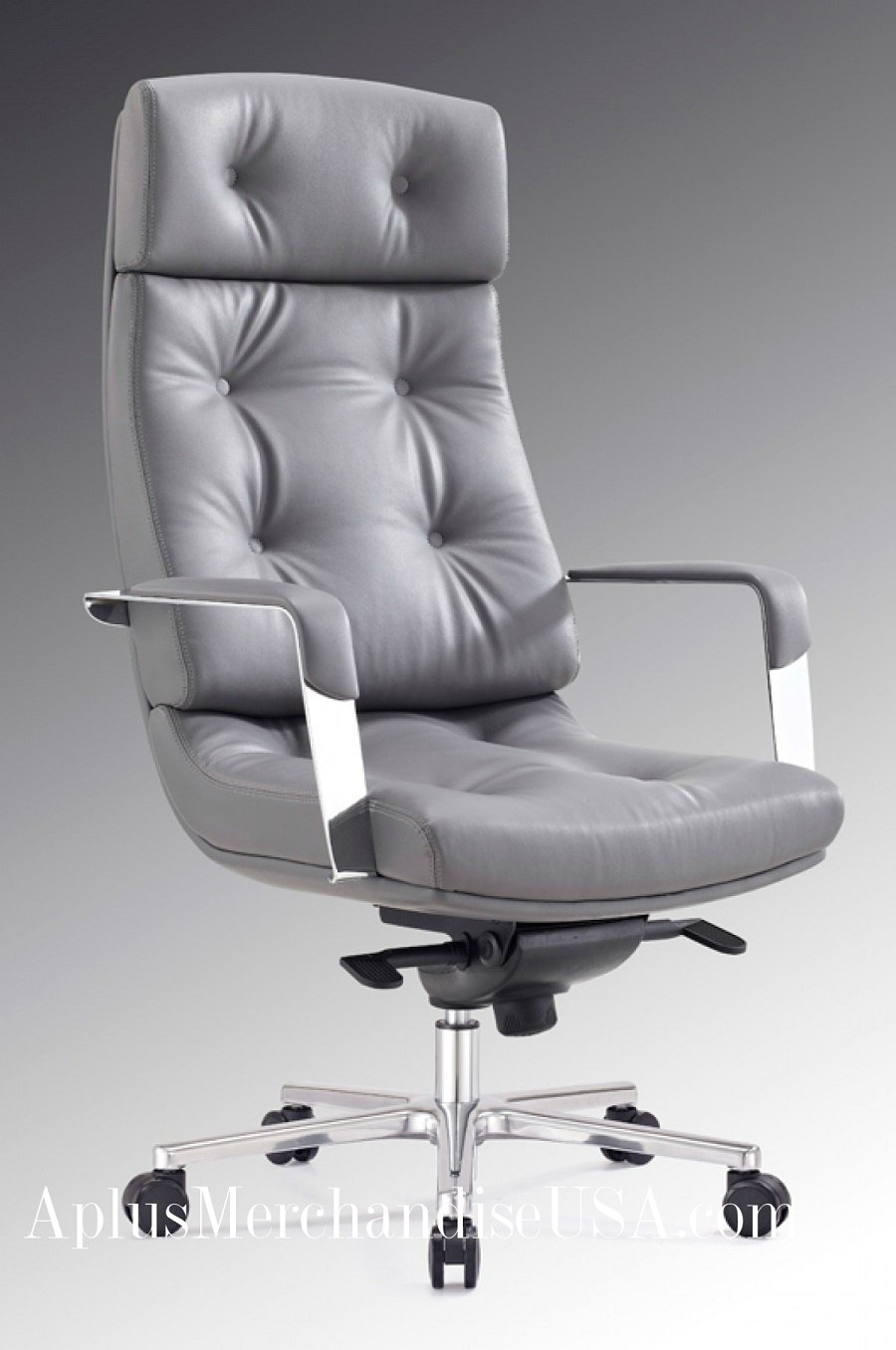 Gray Chair For the Office 4-Position Locking & Adjustable Height Leatherette Modrest Forbes