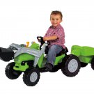 KIDS RIDE ON TOY PEDAL POWERED TRACTOR LOADER AND TRAILER - AGES 3+