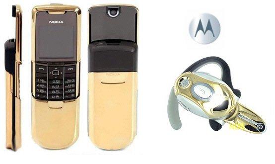 """Nokia 8800 """"James Bond Gold"""" GSM Slider Cellular Mobile Phone + H700 Gold Bluetooth"""