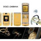"Dolce & Gabbana ""Limited Gold Edition"" - V3I Mobile Cellular Phone + H700 Gold Bluetooth"