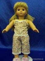 "Flowerd PAJAMA tank set for 18"" dolls- NEW!! fits American Girl"