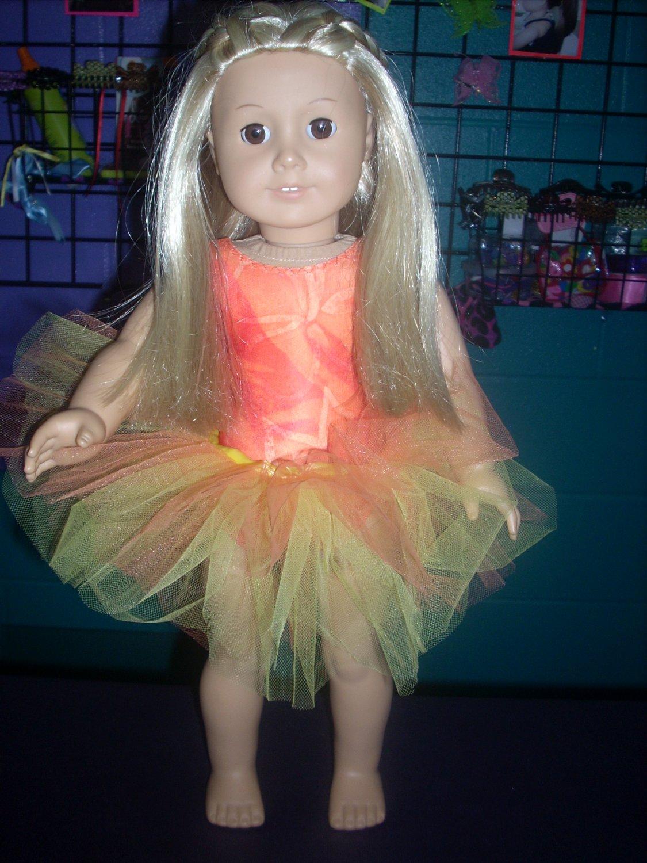 AMERICAN GIRL doll clothes- orange leotard/gymnastics and TUTU
