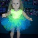 AMERICAN GIRL doll clothes- CHARTREUSE leotard/gymnastics and TUTU