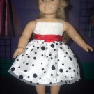 """American Girl 18"""" Doll Clothes - Black/White Polka dot dress with Red sash and shoes."""
