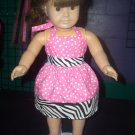 """Hot Pink Polka Dot Dress with Zebra Accents - 18"""" Doll Clothes"""