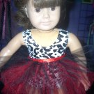 """Black, White and Red Leotard and Tutu Set - 15"""" and 18"""" Doll Clothes"""