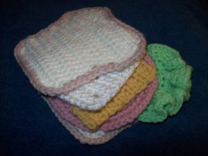Play Food Hand Crocheted Sandwich - bologna, cheese, lettuce