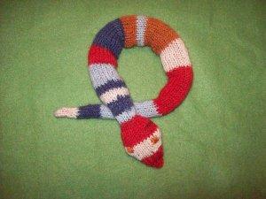 Hand Knit Snake Toy - Small - Denim Stripe