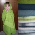 Baby / Toddler Bath Hooded Towel - White with Dark Blue Stripe