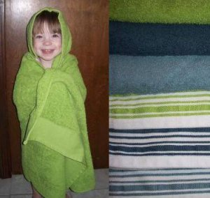 Baby / Toddler Bath Hooded Towel - White with Dark Blue Stripe