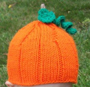 Child Size Pumpkin Hat, Autumn, Fall, Halloween, Hand Knit - Free USA Shipping!