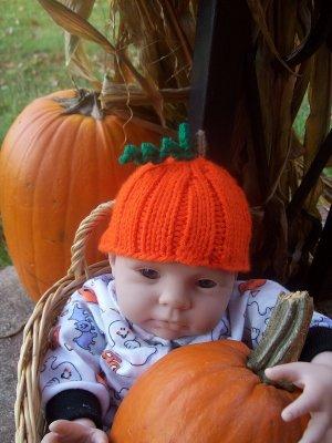 Newborn, Reborn, American Girl size Pumpkin Hat, Halloween, Autumn - Free USA Shipping!