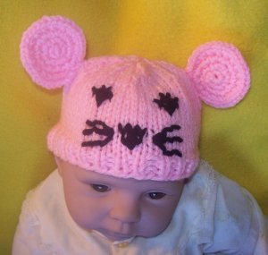 Newborn, reborn, American Girl size Mouse Hat, Hand Knit  - Free USA Shipping