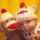 Newborn, Reborn, American Girl size Sock Monkey Hat, Hand knit - Free USA Shipping!
