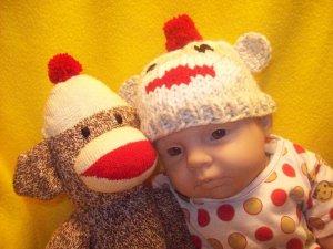Newborn, Reborn, American Girl size Sock Monkey Hat, Hand knit - Free USA Shipping!