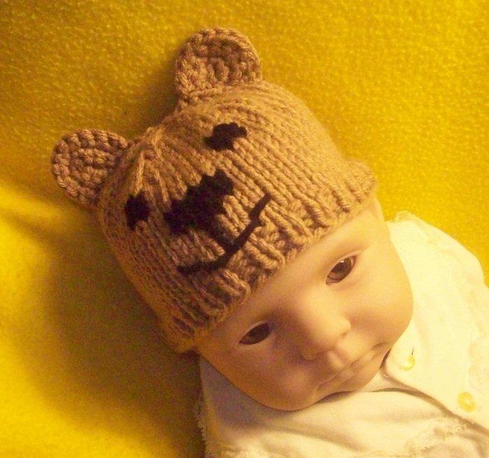 Newborn, reborn, American Girl size Bear Hat, Hand Knit  - Free USA Shipping