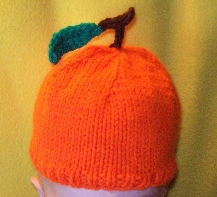 Newborn, reborn, American Girl size Orange Fruit Hat, Hand Knit - Free USA Shipping