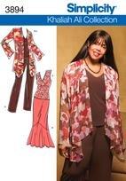 Simplicity 3894 Khaliah Ali Jacket, top, pants - Plus Size