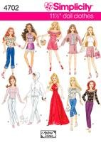 Simplicity  2966 Fashion Doll Clothes for 11 1/2 nch dolls.