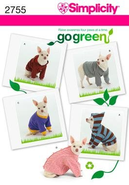 Simplicity 2755 Dog Clothes in Three Sizes Go Green Collection