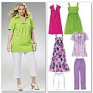 McCalls 6085 Tops, Shorts, Dresses and Capri Pants 18w-24w